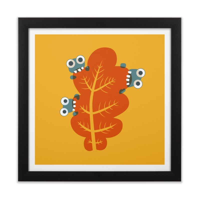 Cute Bugs Eat Autumn Leaf Home Framed Fine Art Print by Boriana's Artist Shop