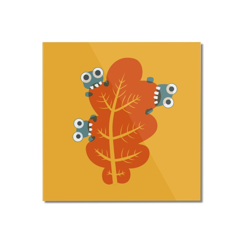 Cute Bugs Eat Autumn Leaf Home Mounted Acrylic Print by Boriana's Artist Shop