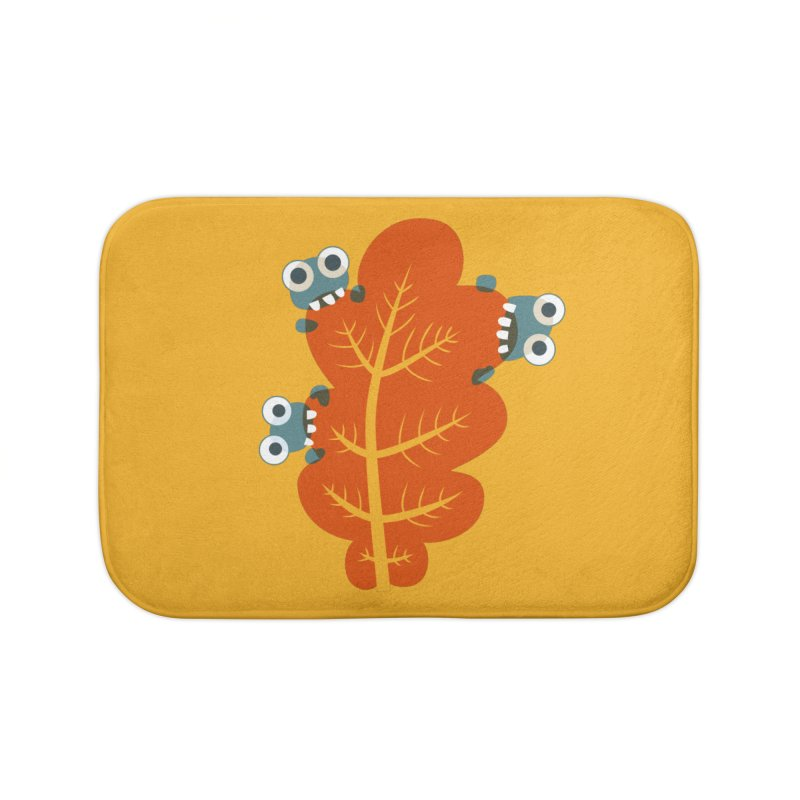 Cute Bugs Eat Autumn Leaf Home Bath Mat by Boriana's Artist Shop