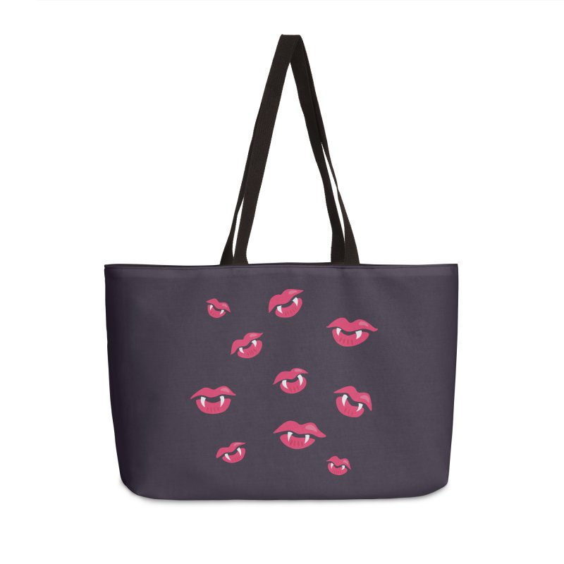 Vampire lips and fangs Accessories Weekender Bag Bag by Boriana's Artist Shop