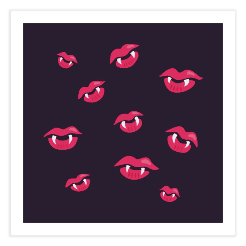 Vampire lips and fangs Home Fine Art Print by Boriana's Artist Shop