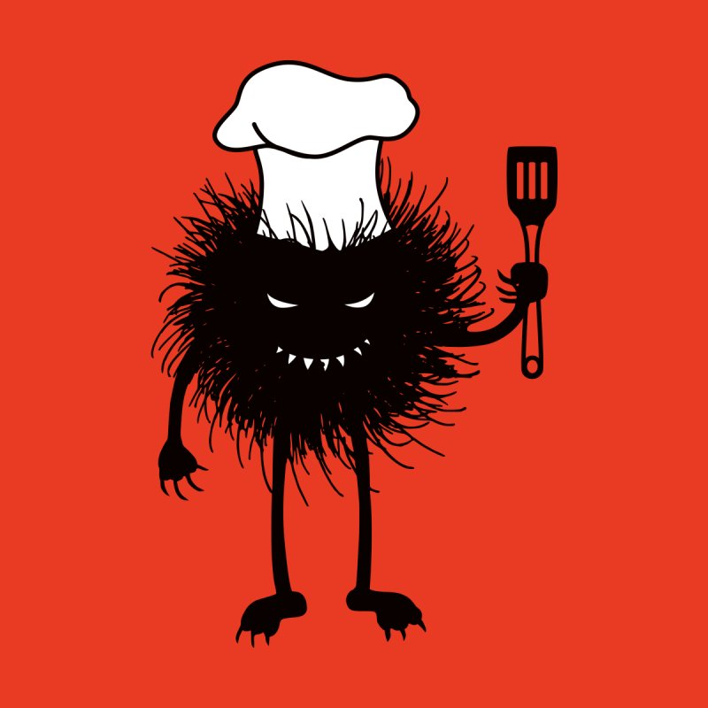 Evil bug chef loves cooking by Boriana's Artist Shop
