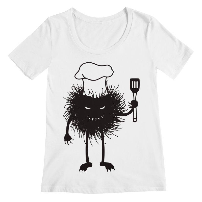Evil bug chef loves cooking Women's Regular Scoop Neck by Boriana's Artist Shop