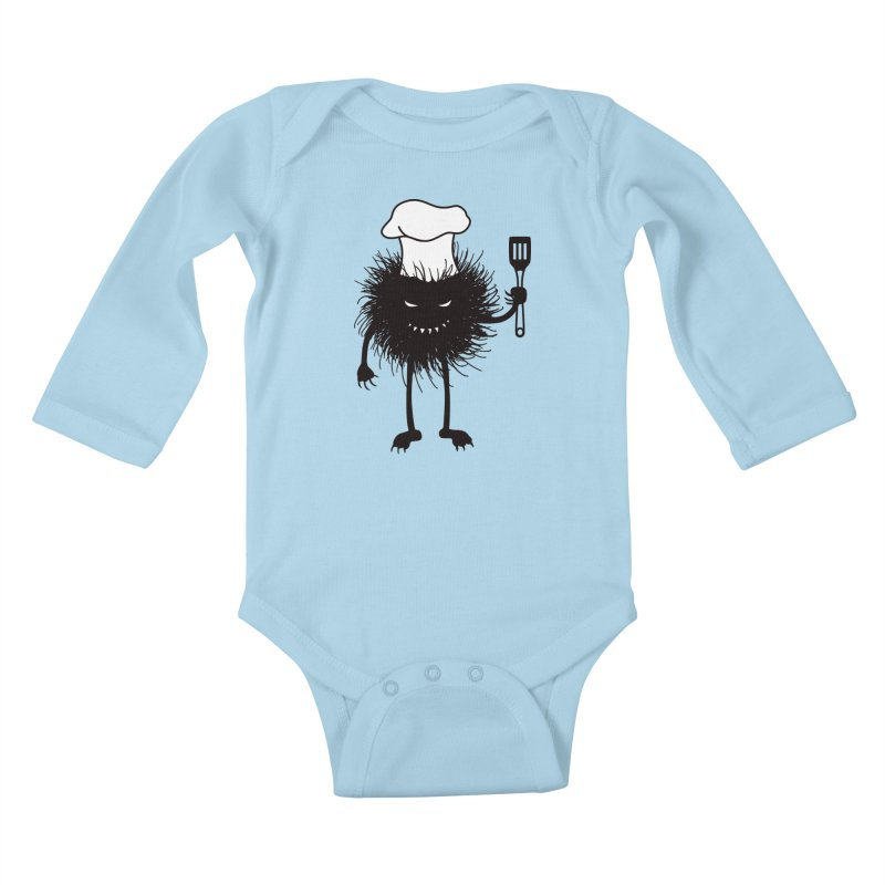Evil bug chef loves cooking Kids Baby Longsleeve Bodysuit by Boriana's Artist Shop