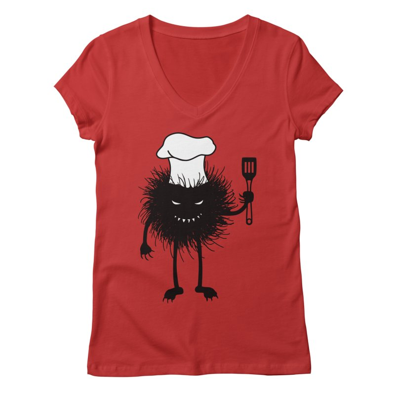 Evil bug chef loves cooking Women's Regular V-Neck by Boriana's Artist Shop