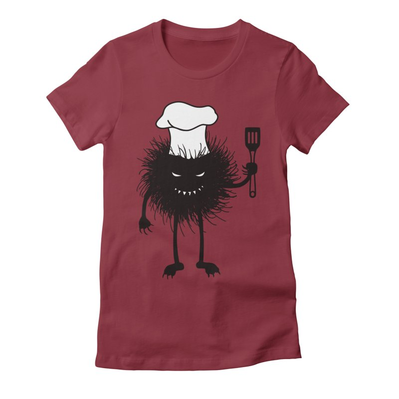 Evil bug chef loves cooking Women's Fitted T-Shirt by Boriana's Artist Shop