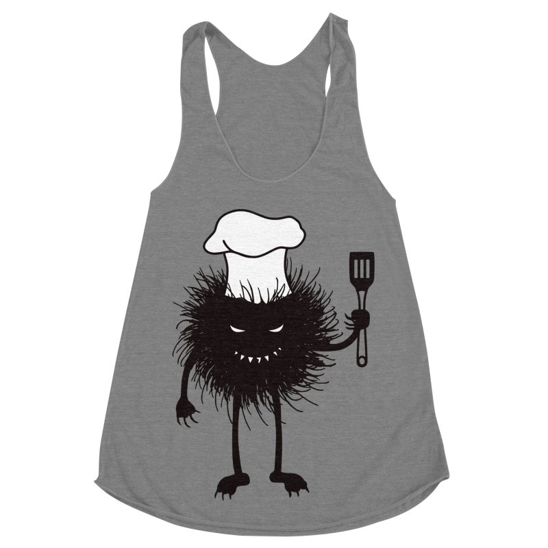 Evil bug chef loves cooking Women's Racerback Triblend Tank by Boriana's Artist Shop