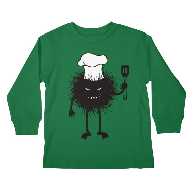 Evil bug chef loves cooking Kids Longsleeve T-Shirt by Boriana's Artist Shop