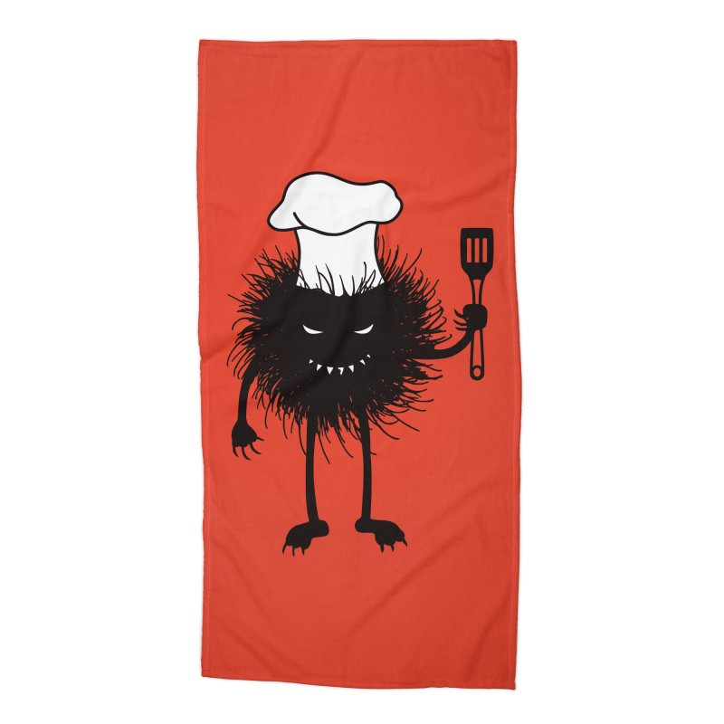 Evil bug chef loves cooking Accessories Beach Towel by Boriana's Artist Shop