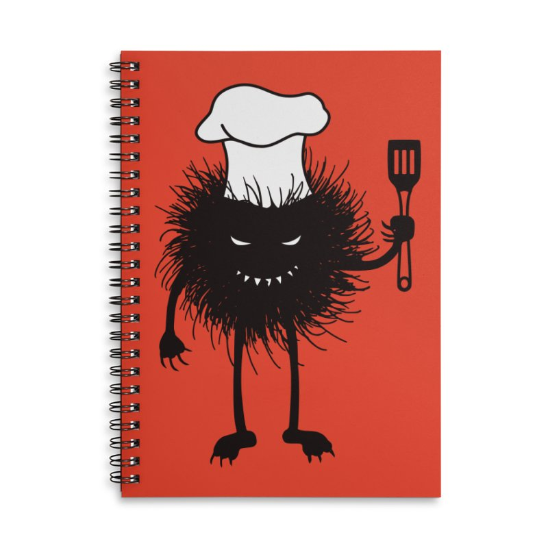 Evil bug chef loves cooking Accessories Lined Spiral Notebook by Boriana's Artist Shop