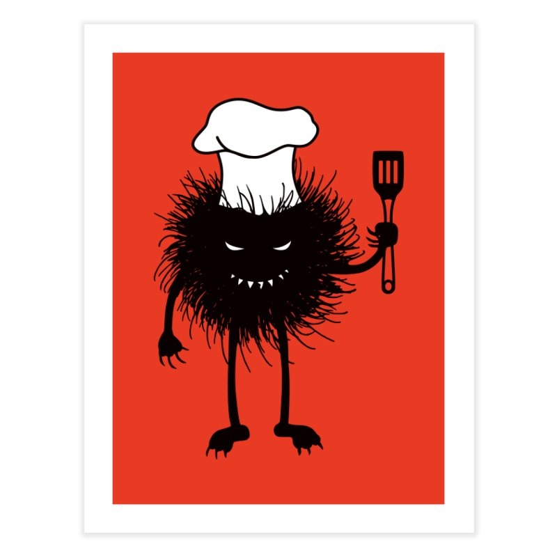 Evil bug chef loves cooking Home Fine Art Print by Boriana's Artist Shop