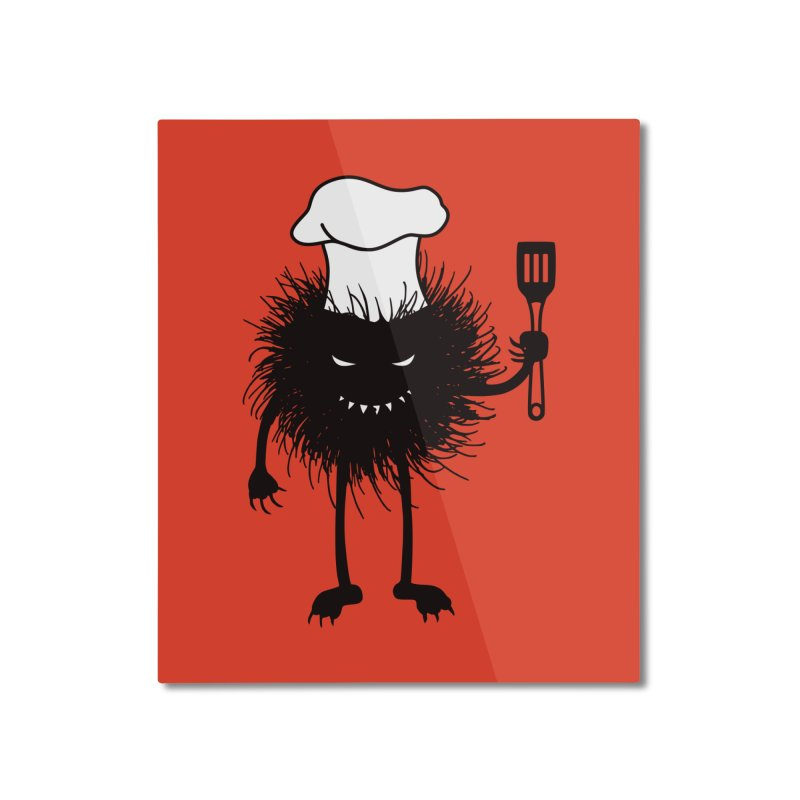 Evil bug chef loves cooking Home Mounted Aluminum Print by Boriana's Artist Shop