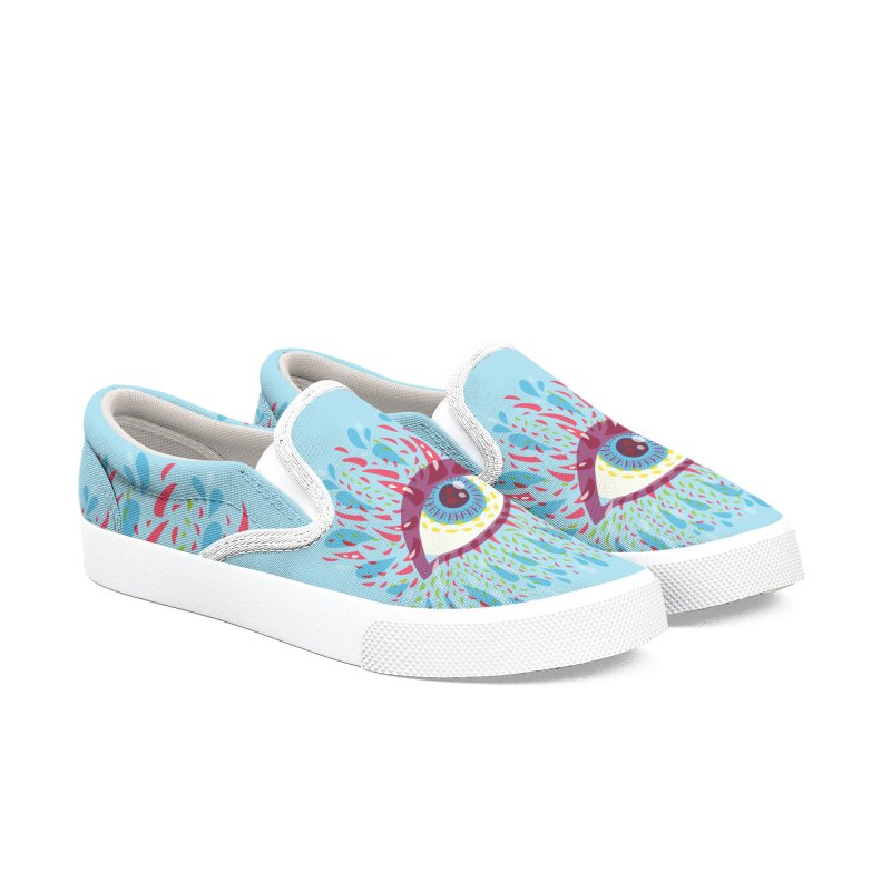 Weird Blue Psychedelic Eye Men's Slip-On Shoes by Boriana's Artist Shop