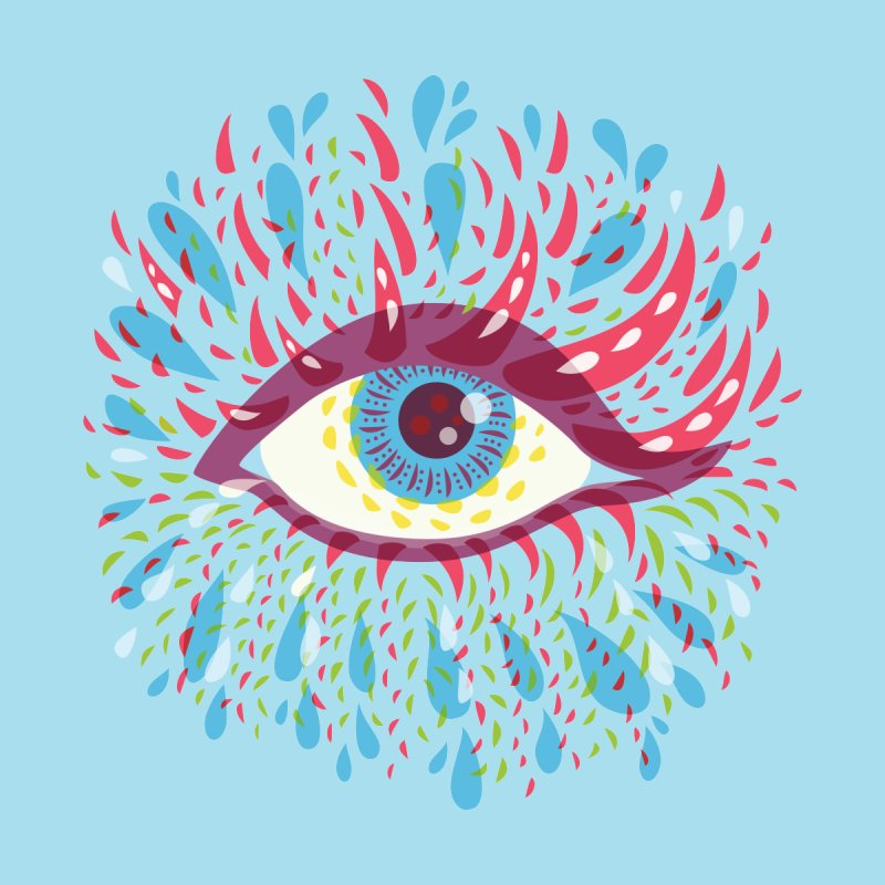 Weird Blue Psychedelic Eye by Boriana's Artist Shop