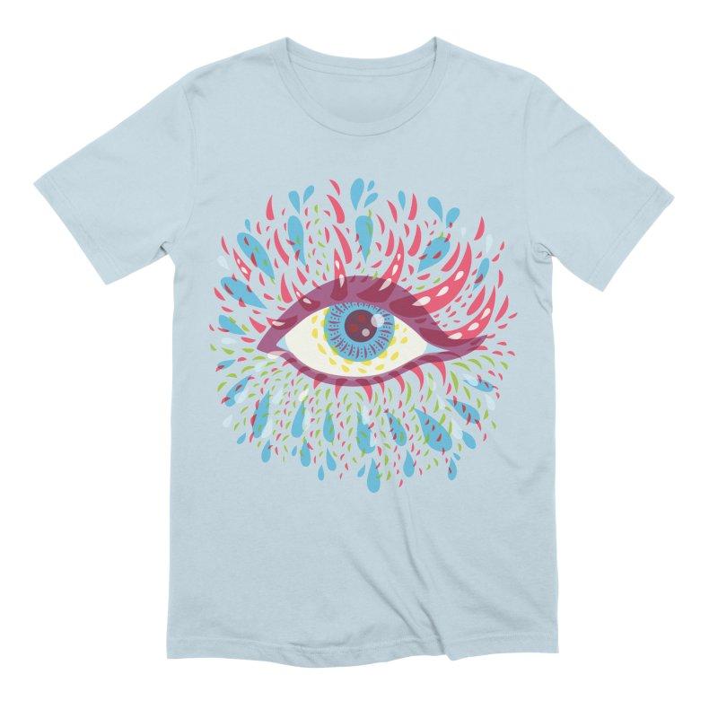Weird Blue Psychedelic Eye Men's Extra Soft T-Shirt by Boriana's Artist Shop