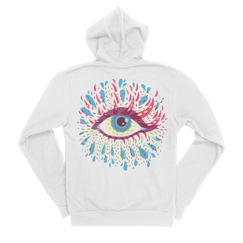 Weird Blue Psychedelic Eye Women's Sponge Fleece Zip-Up Hoody by Boriana's Artist Shop