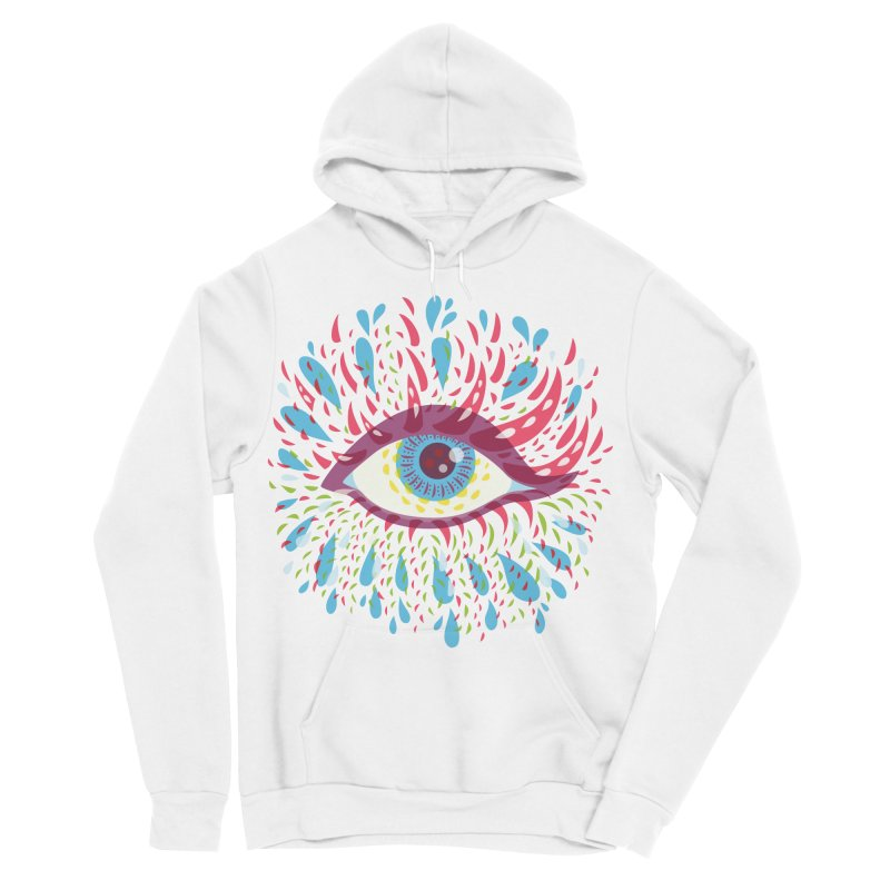 Weird Blue Psychedelic Eye Men's Sponge Fleece Pullover Hoody by Boriana's Artist Shop