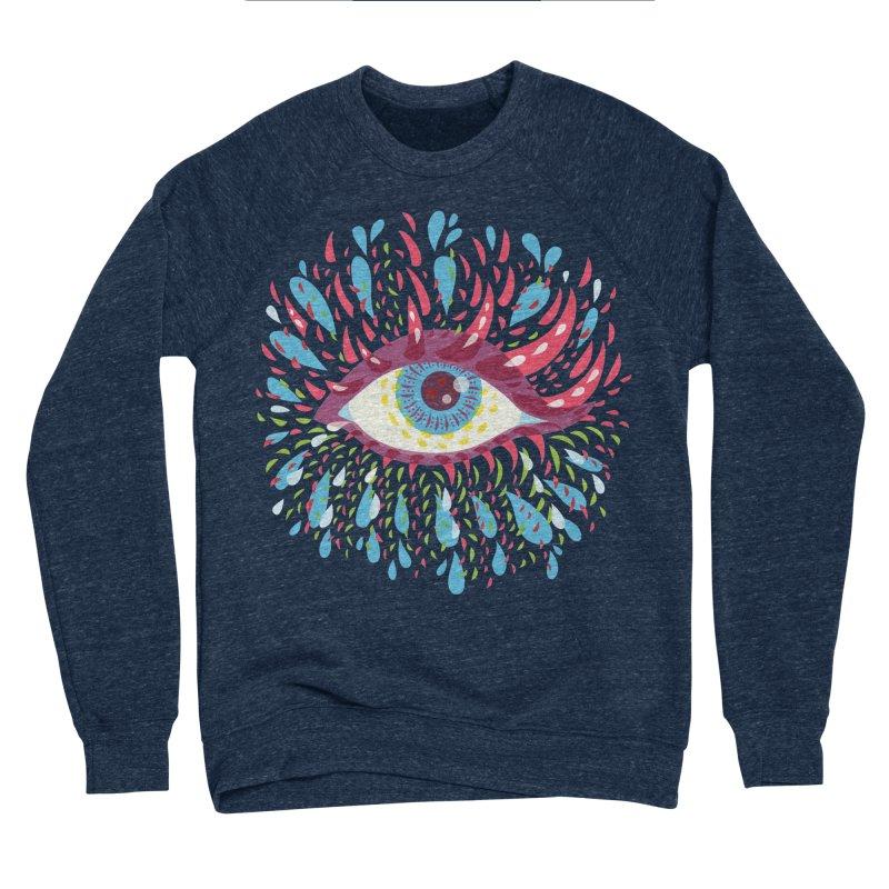Weird Blue Psychedelic Eye Men's Sponge Fleece Sweatshirt by Boriana's Artist Shop