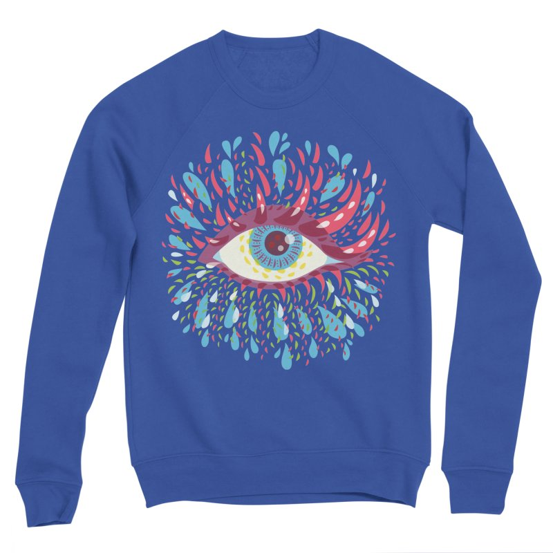Weird Blue Psychedelic Eye Women's Sponge Fleece Sweatshirt by Boriana's Artist Shop