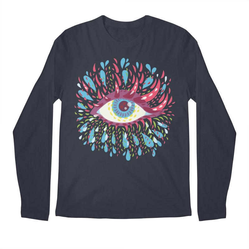 Weird Blue Psychedelic Eye Men's Longsleeve T-Shirt by Boriana's Artist Shop