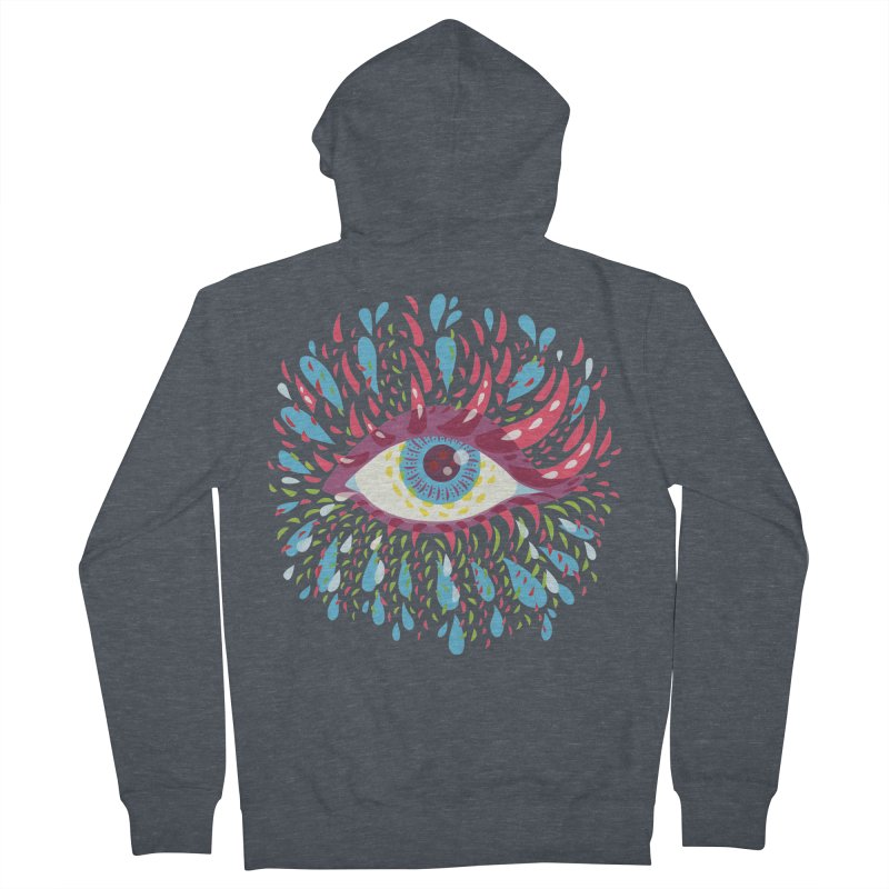 Weird Blue Psychedelic Eye Women's French Terry Zip-Up Hoody by Boriana's Artist Shop