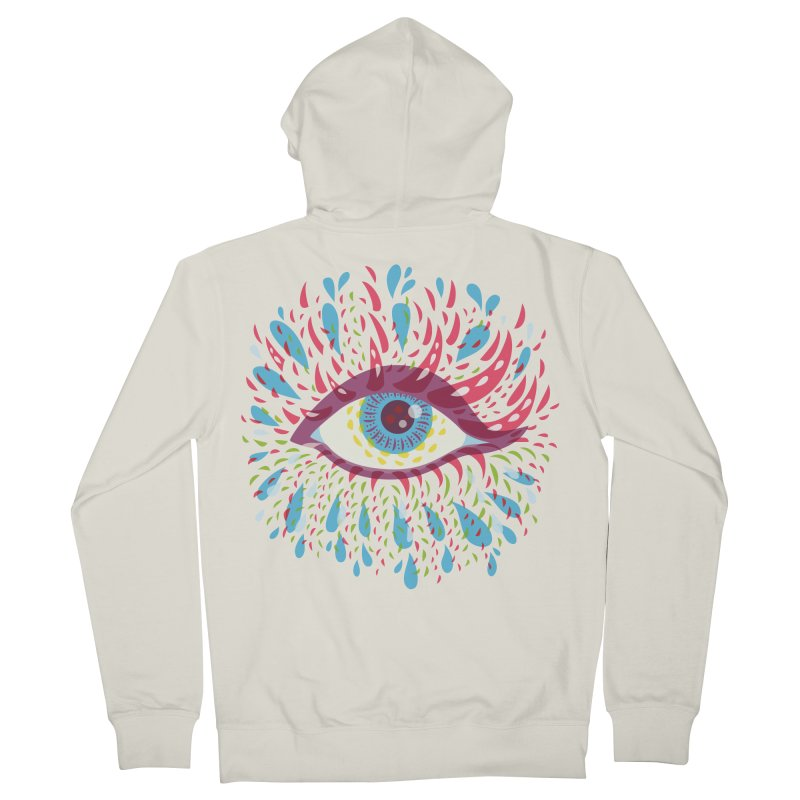 Weird Blue Psychedelic Eye Men's French Terry Zip-Up Hoody by Boriana's Artist Shop