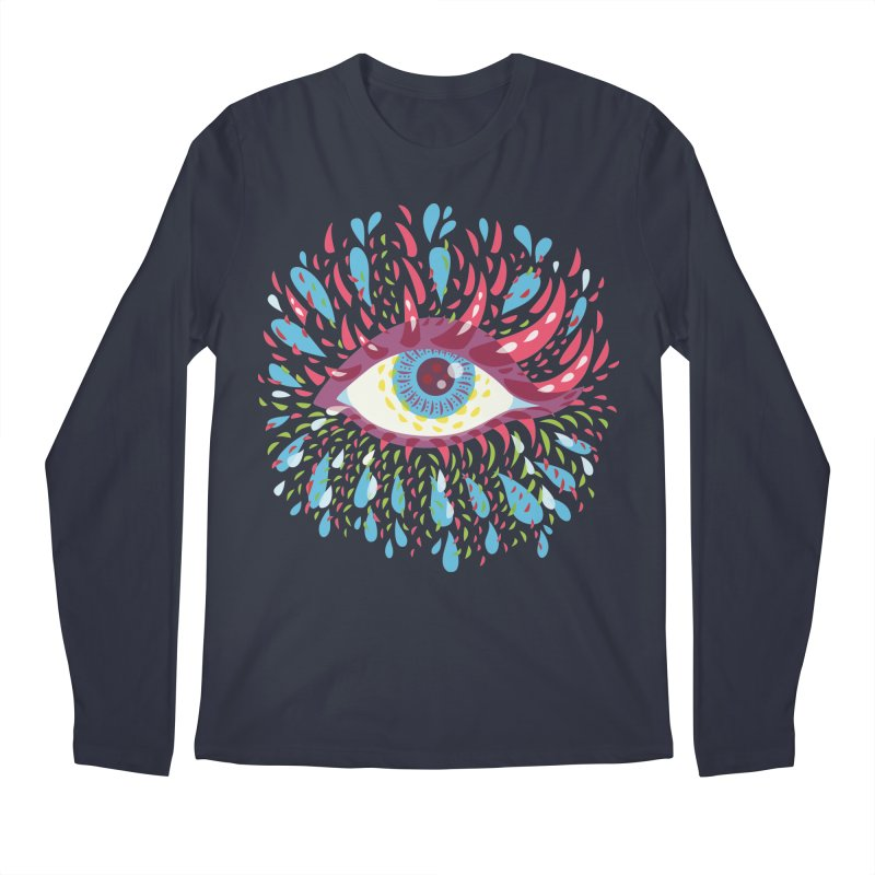 Weird Blue Psychedelic Eye Men's Regular Longsleeve T-Shirt by Boriana's Artist Shop