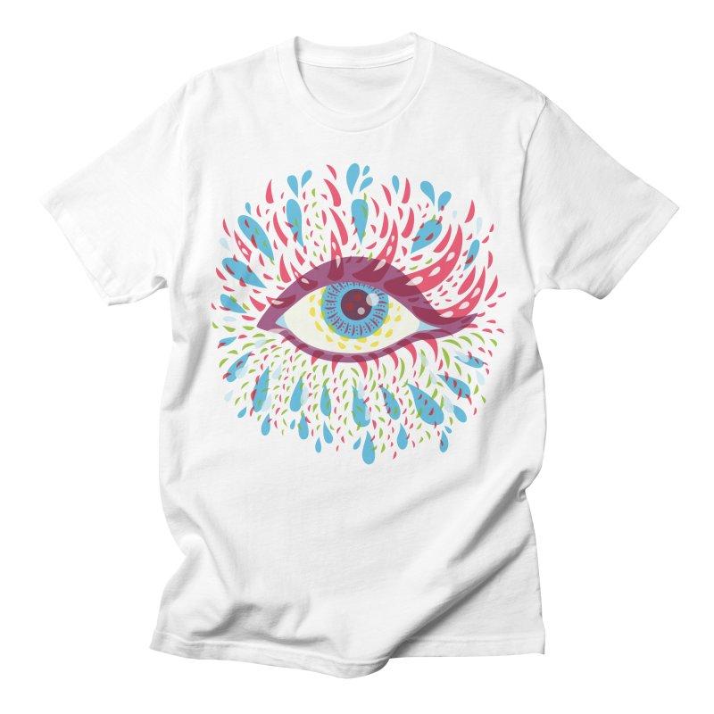 Weird Blue Psychedelic Eye Men's Regular T-Shirt by Boriana's Artist Shop