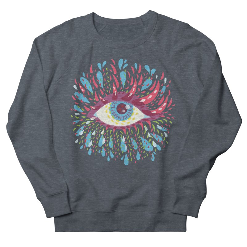 Weird Blue Psychedelic Eye Women's French Terry Sweatshirt by Boriana's Artist Shop