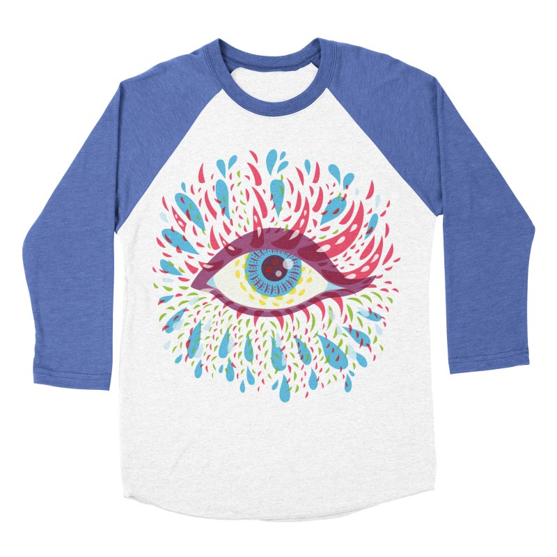 Weird Blue Psychedelic Eye Women's Baseball Triblend Longsleeve T-Shirt by Boriana's Artist Shop