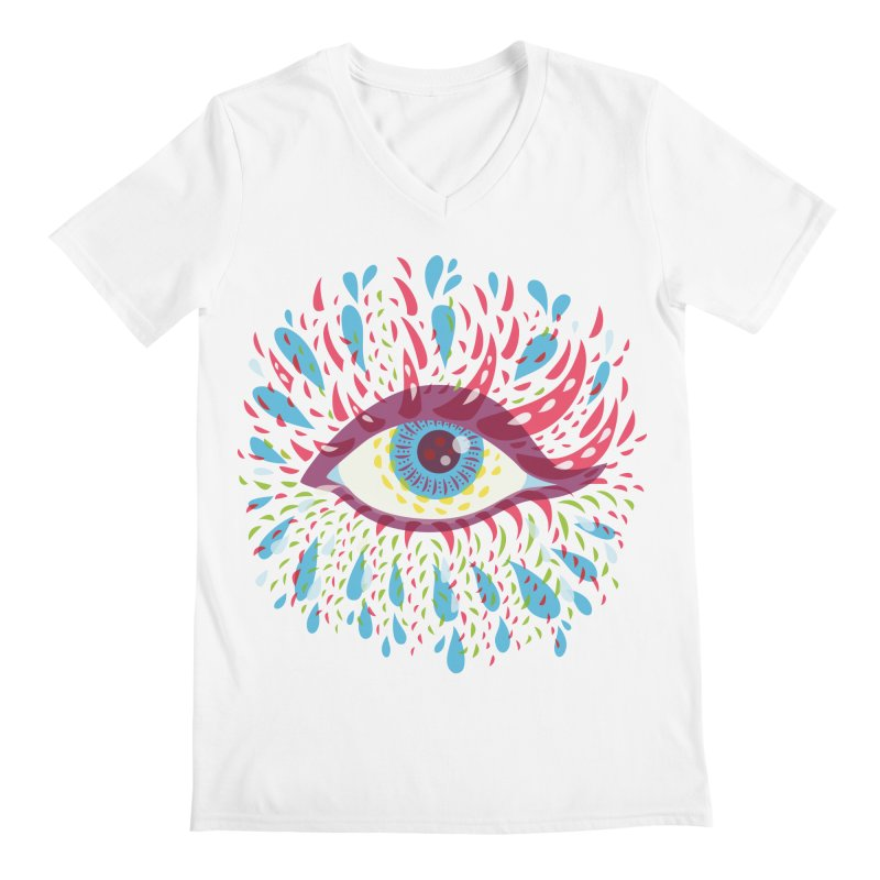 Weird Blue Psychedelic Eye Men's Regular V-Neck by Boriana's Artist Shop