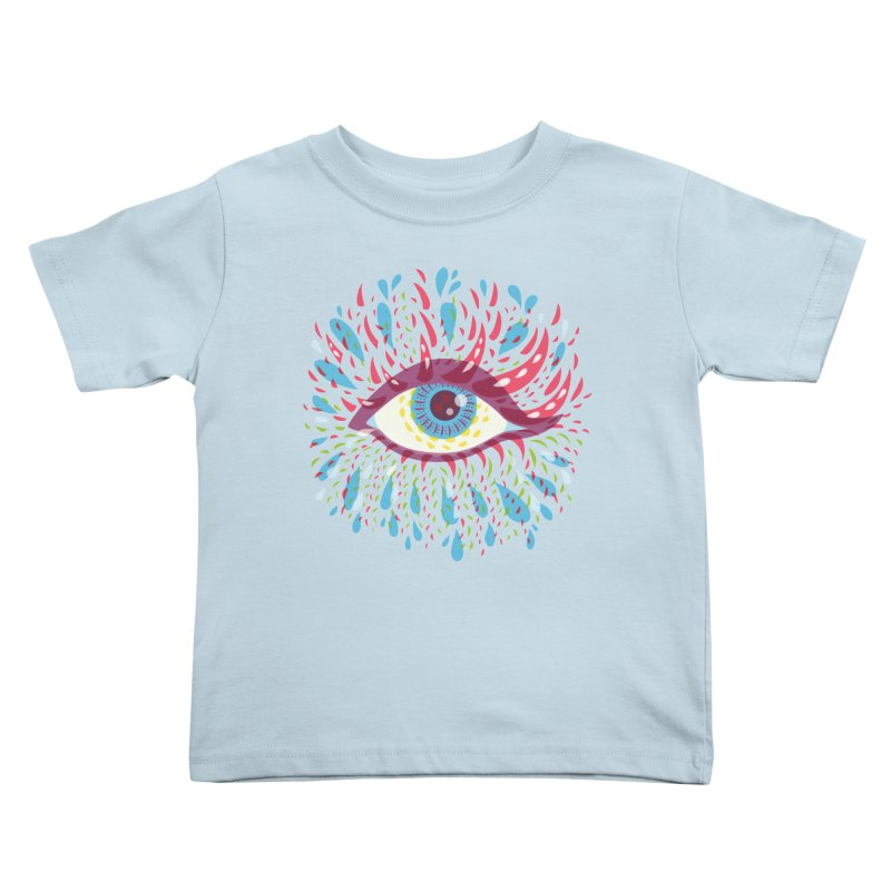 Weird Blue Psychedelic Eye Kids Toddler T-Shirt by Boriana's Artist Shop