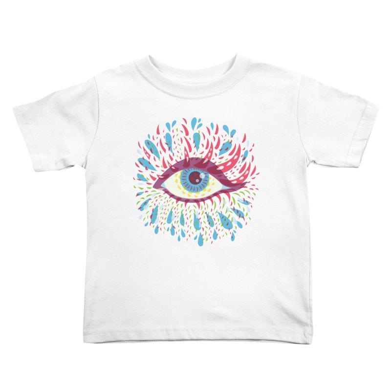 Weird Blue Psychedelic Eye Kids Toddler T-Shirt by Boriana's Artist Shop