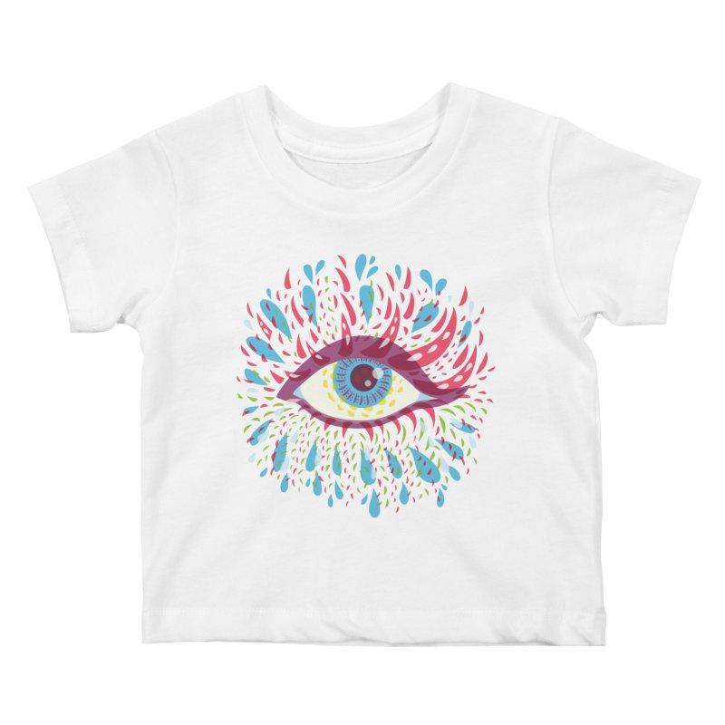 Weird Blue Psychedelic Eye Kids Baby T-Shirt by Boriana's Artist Shop