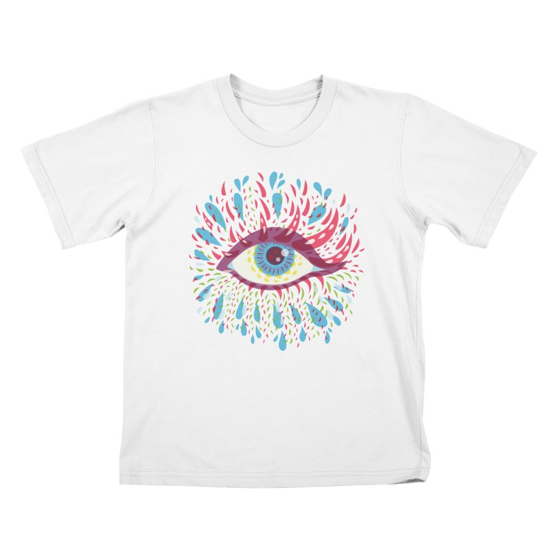 Weird Blue Psychedelic Eye Kids T-Shirt by Boriana's Artist Shop