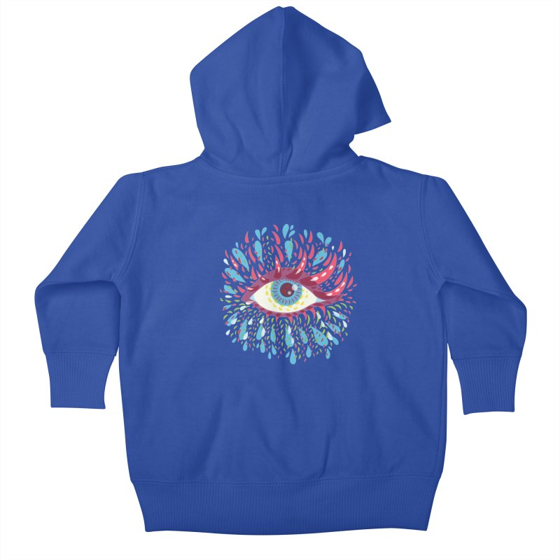 Weird Blue Psychedelic Eye Kids Baby Zip-Up Hoody by Boriana's Artist Shop