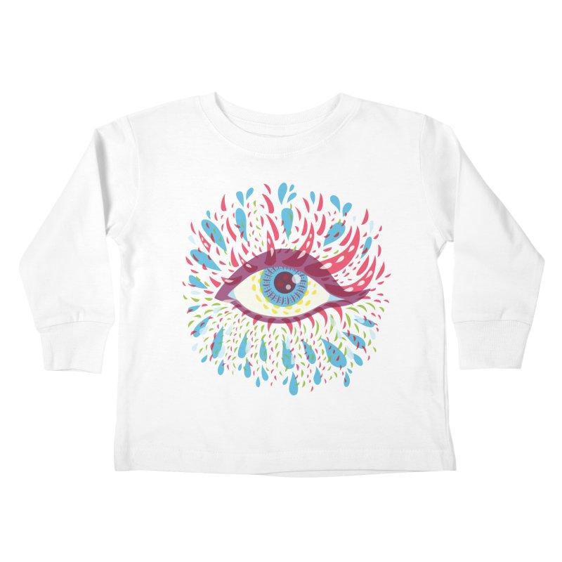 Weird Blue Psychedelic Eye Kids Toddler Longsleeve T-Shirt by Boriana's Artist Shop