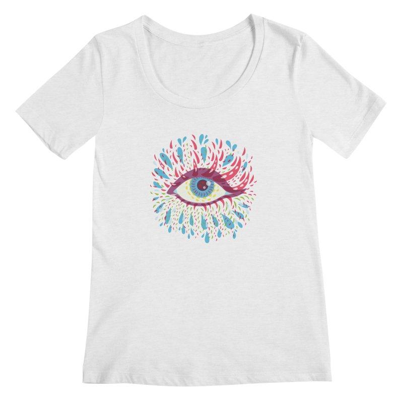Weird Blue Psychedelic Eye Women's Regular Scoop Neck by Boriana's Artist Shop