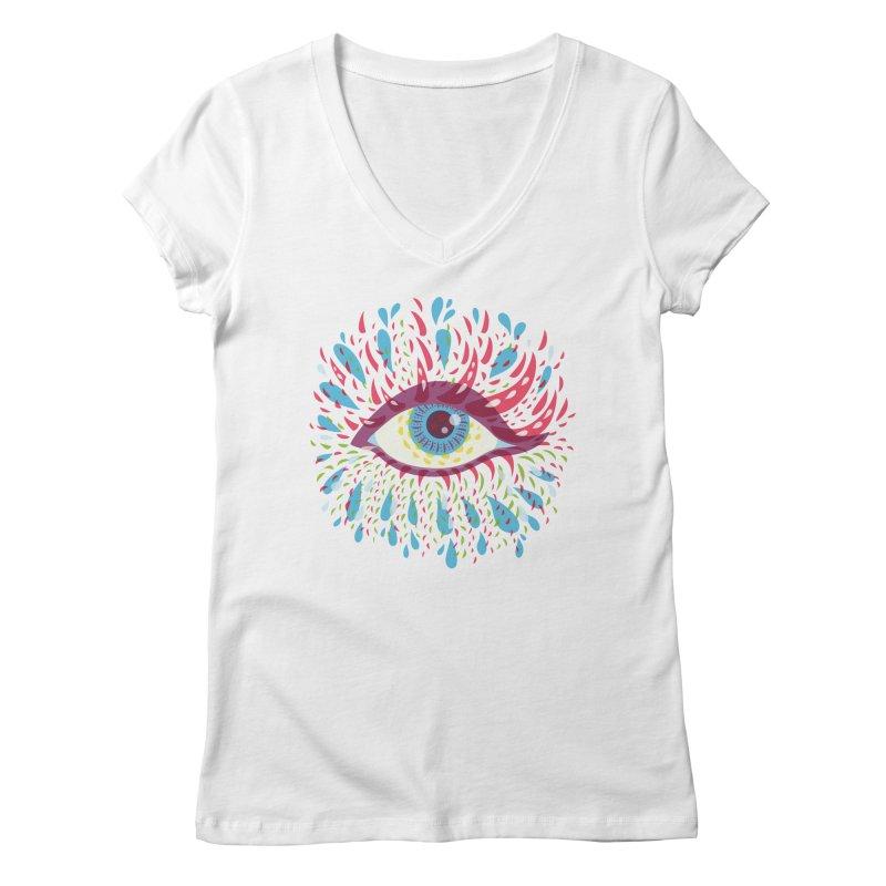 Weird Blue Psychedelic Eye Women's Regular V-Neck by Boriana's Artist Shop