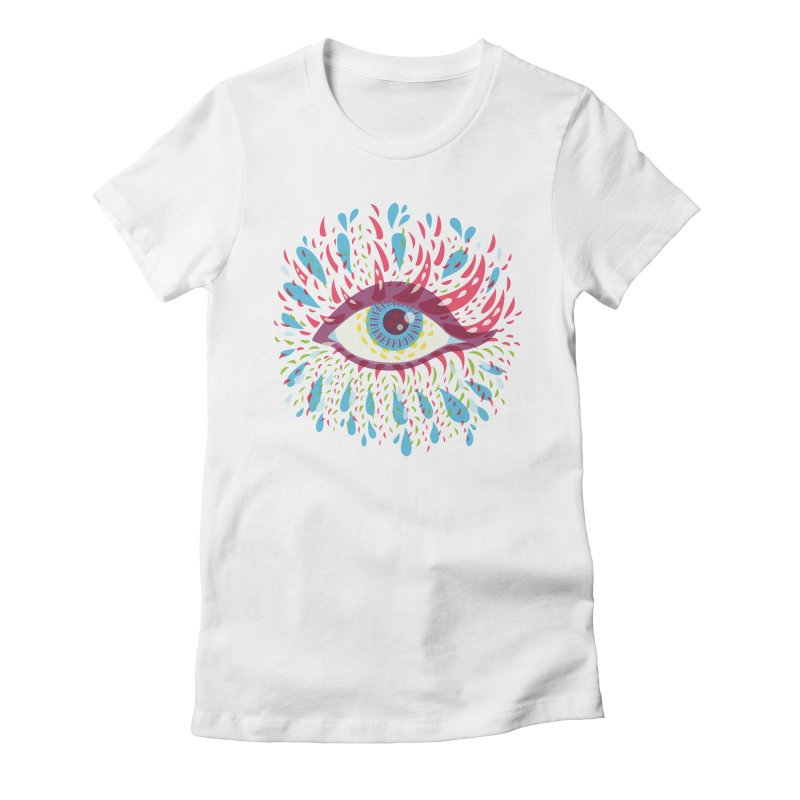 Weird Blue Psychedelic Eye Women's Fitted T-Shirt by Boriana's Artist Shop