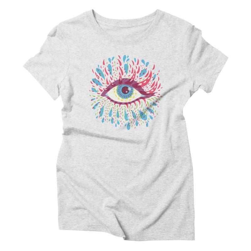 Weird Blue Psychedelic Eye Women's Triblend T-Shirt by Boriana's Artist Shop