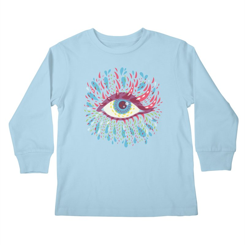 Weird Blue Psychedelic Eye Kids Longsleeve T-Shirt by Boriana's Artist Shop
