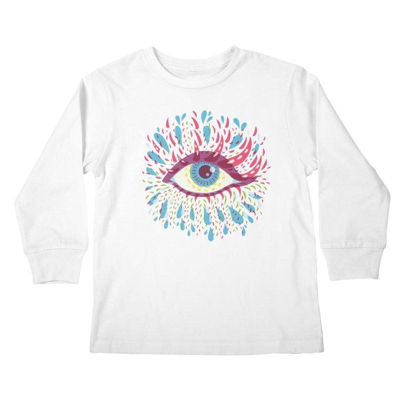 Weird Blue Psychedelic Eye Kids Longsleeve T-Shirt by Boriana's Artist Shop