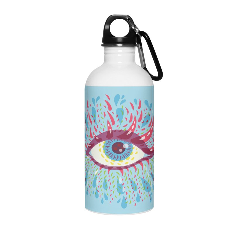 Weird Blue Psychedelic Eye Accessories Water Bottle by Boriana's Artist Shop