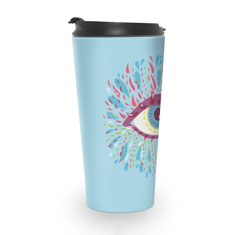 Weird Blue Psychedelic Eye Accessories Travel Mug by Boriana's Artist Shop