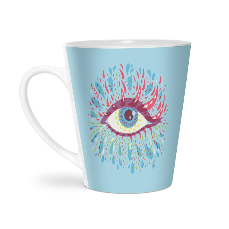 Weird Blue Psychedelic Eye Accessories Latte Mug by Boriana's Artist Shop