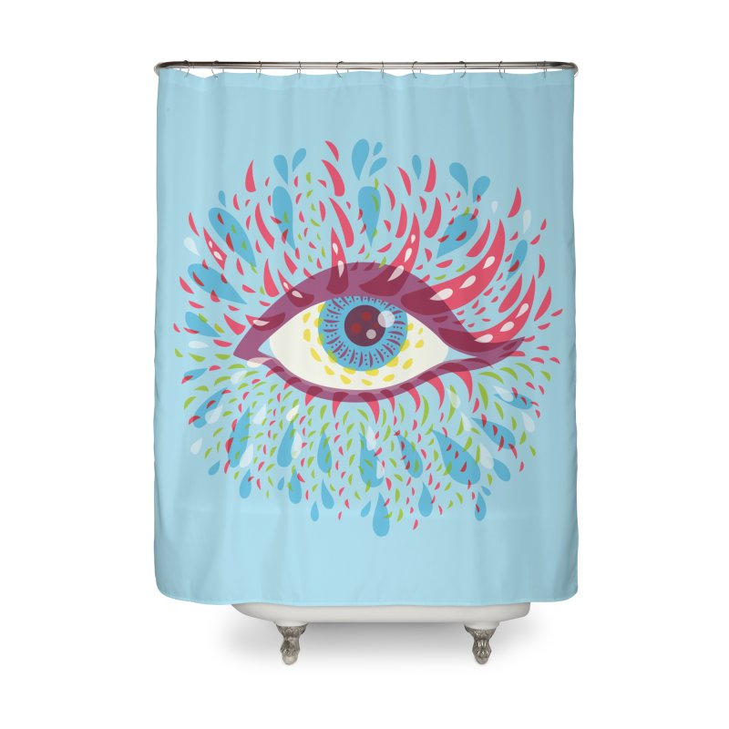 Weird Blue Psychedelic Eye Home Shower Curtain by Boriana's Artist Shop