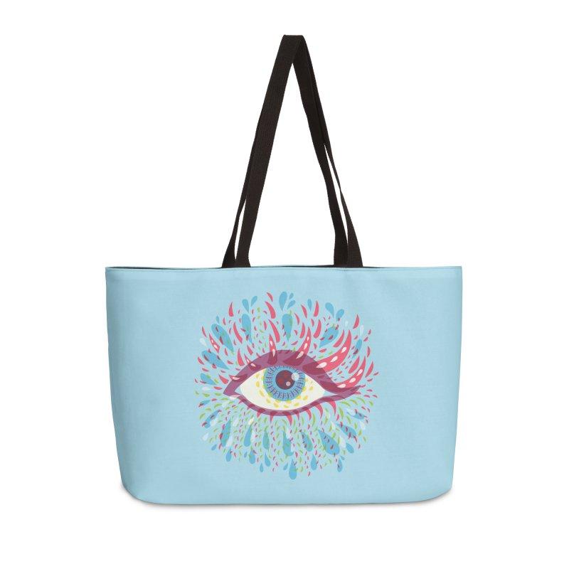 Weird Blue Psychedelic Eye Accessories Weekender Bag Bag by Boriana's Artist Shop