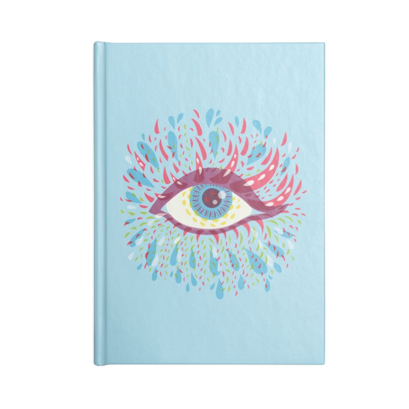 Weird Blue Psychedelic Eye Accessories Lined Journal Notebook by Boriana's Artist Shop
