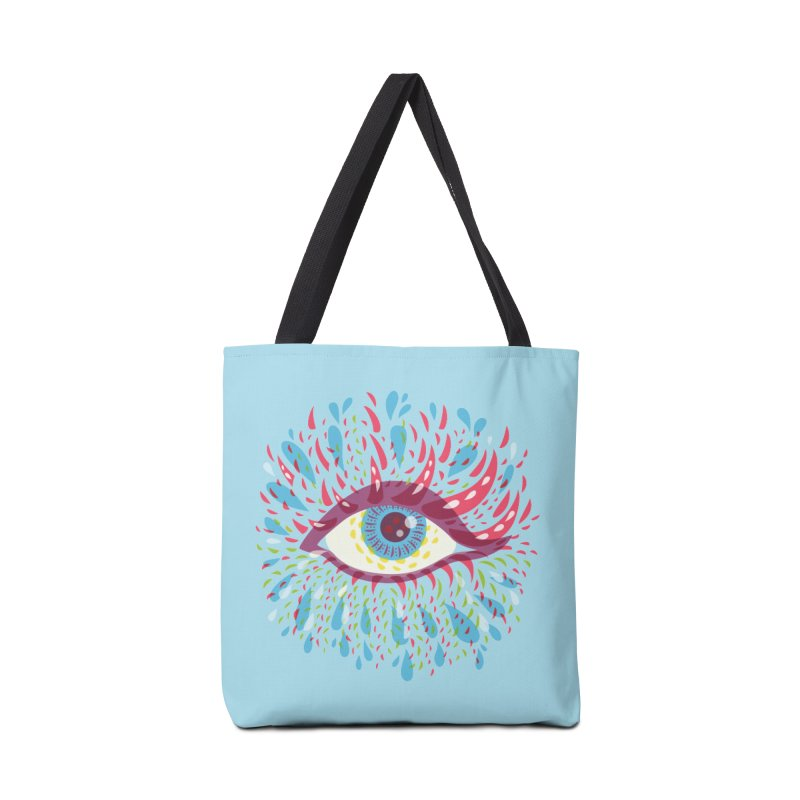Weird Blue Psychedelic Eye Accessories Tote Bag Bag by Boriana's Artist Shop